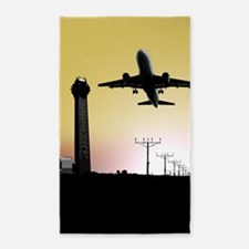 ATC: Air Traffic Control Tower & Plane Area Rug