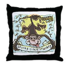 Spunky Little Monkey Throw Pillow