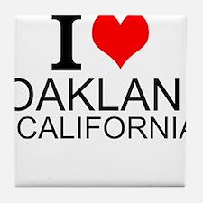 I Love Oakland, California Tile Coaster