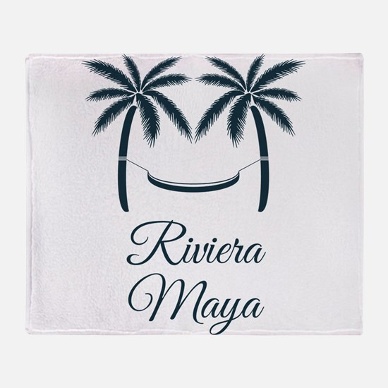 Palm Trees Riviera Maya T-Shirt Throw Blanket