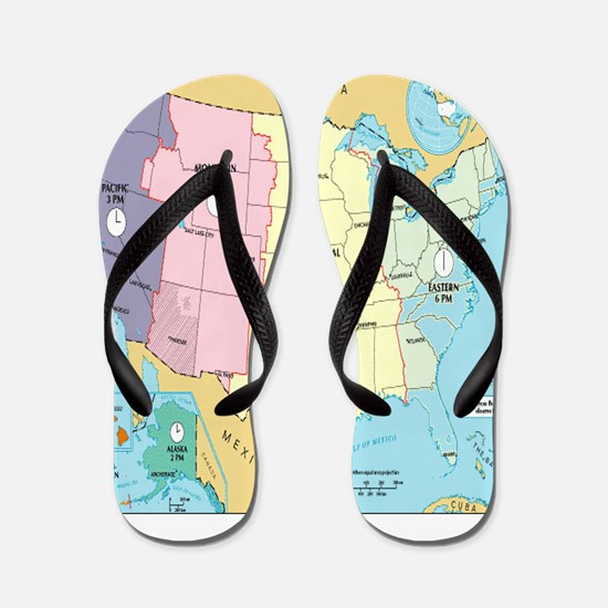 Time Zones United States Flip Flops