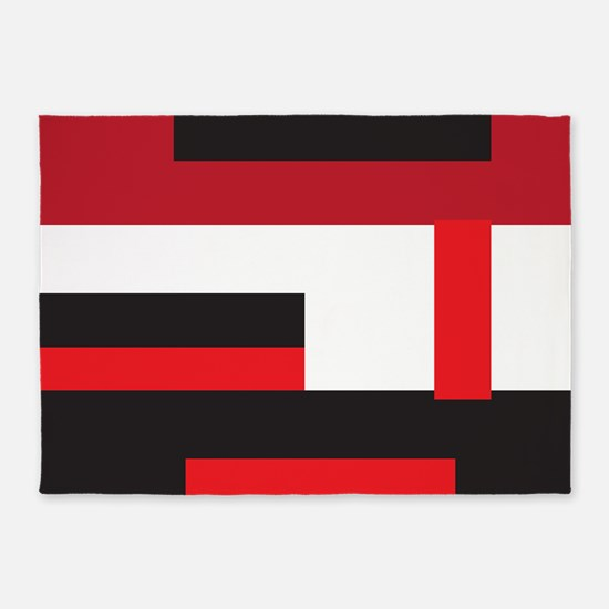 Black White and Red Square 5'x7'Area Rug
