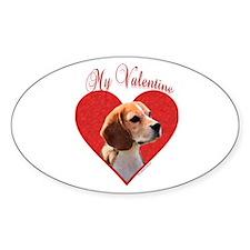 Beagle Valentine Oval Decal