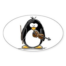 Violin Penguin Oval Decal