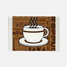 Coffee Words Jumble Print - Brown Magnets