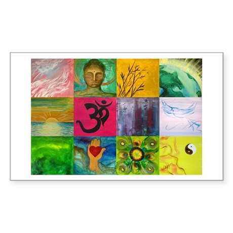 Smiling Buddha Patchwork Rectangle Sticker