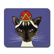 siamese cat in a hat Mousepad