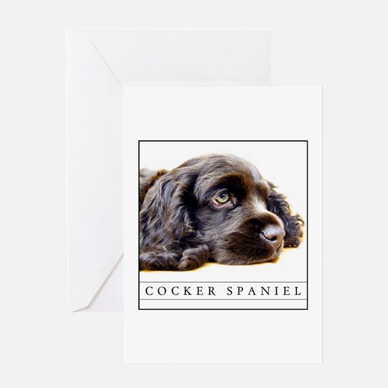 cocker_BLACK_FRAME Greeting Cards