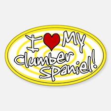 Hypno I Love My Clumber Spaniel Oval Sticker Ylw
