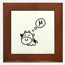 Cow says 'mu' Framed Tile