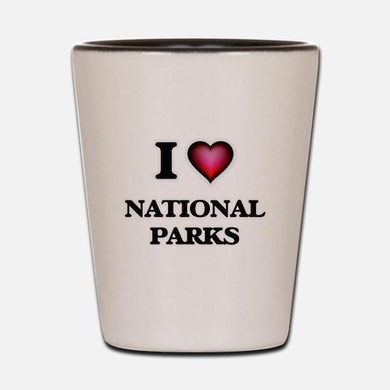 I Love National Parks Shot Glass