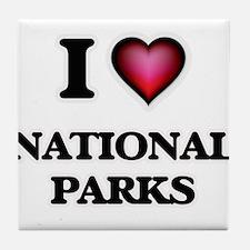 I Love National Parks Tile Coaster