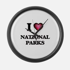I Love National Parks Large Wall Clock