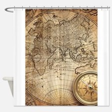 Cute Vintage map world Shower Curtain