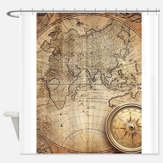Cute Vintage world map Shower Curtain