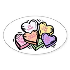 Candy Hearts I Oval Decal