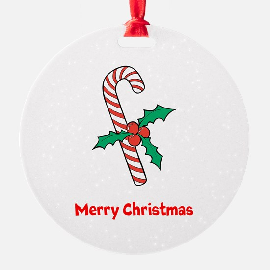 Candy Cane Personalized Round Ornament
