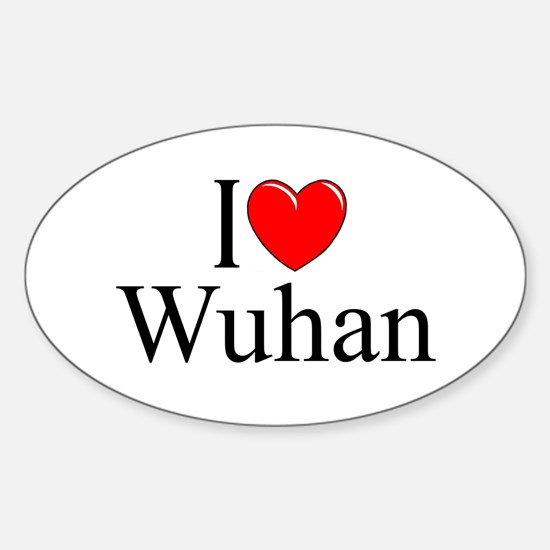 """I Love Wuhan"" Oval Decal"