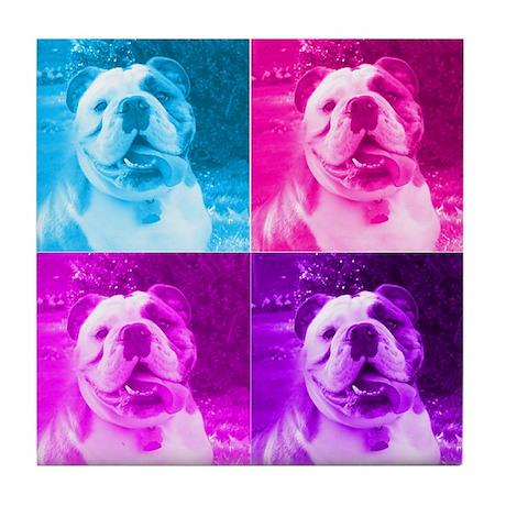 Rainbow Bulldog Tile Coaster