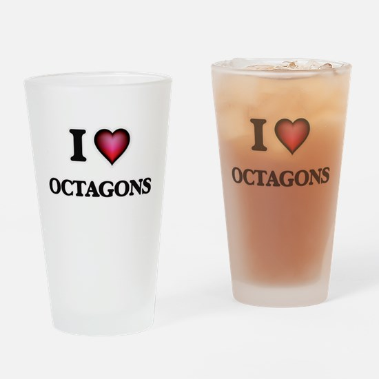 I Love Octagons Drinking Glass