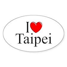 """I Love Taipei"" Oval Decal"