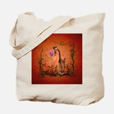 Funny giraffe with flower Tote Bag