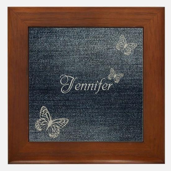 Cute Blue Denim Butterfly Framed Tile