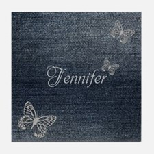 Cute Blue Denim Butterfly Tile Coaster
