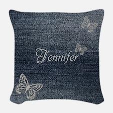 Cute Blue Denim Butterfly Woven Throw Pillow