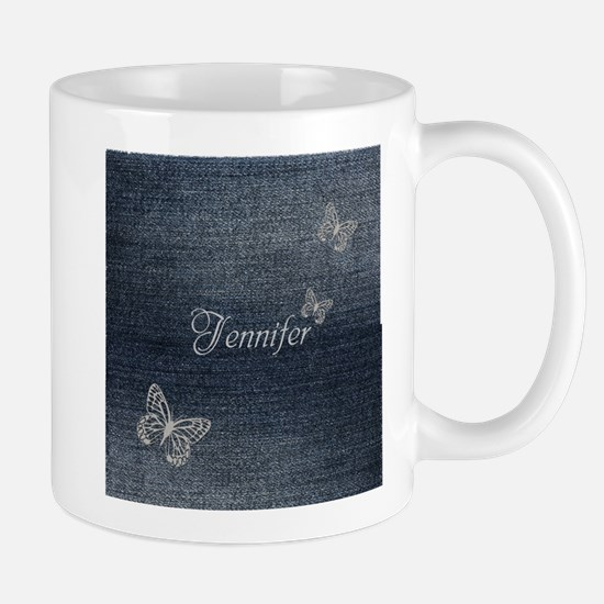 Cute Blue Denim Butterfly Mugs