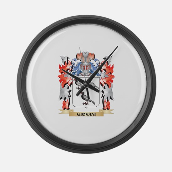 Giovani Coat of Arms - Family Cre Large Wall Clock