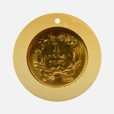 Indian Princess Gold Dollar Round Ornament