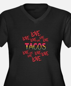 Love Love Ta Women's Plus Size V-Neck Dark T-Shirt