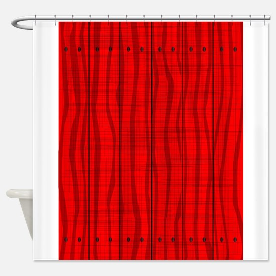 Red Wooden Grunge Background Shower Curtain