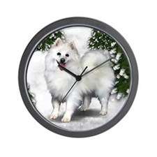 AMERICAN ESKIMO DOG WINTER FOREST Wall Clock