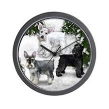 BLACK, WHITE, STANDARD SCHNAUZER DOGS Wall Clock