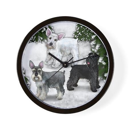 BLACK, WHITE, STANDARD SCHNAUZER DOGS Wall Clock