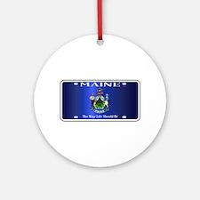 Maine Flag License Plate Round Ornament