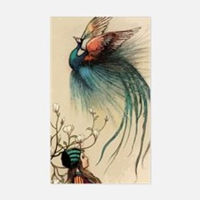 Red peacock feather Sticker (Rectangle)