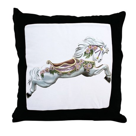 White Jumper Carousel Throw Pillow
