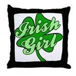 4 Leaf Clover Irish Girl Throw Pillow