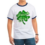 4 Leaf Clover Irish Girl Ringer T