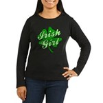 4 Leaf Clover Irish Girl Women's Long Sleeve Dark