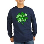 4 Leaf Clover Irish Girl Long Sleeve Dark T-Shirt