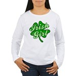 4 Leaf Clover Irish Girl Women's Long Sleeve T-Shi