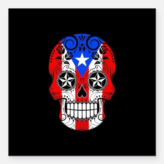 Puerto Rican Sugar Skull with Roses Square Car Mag