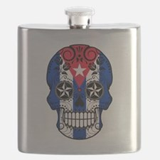 Cuban Sugar Skull with Roses Flask