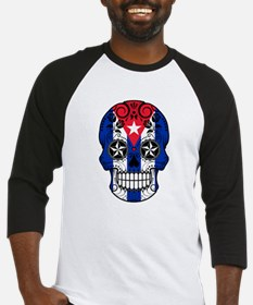 Cuban Sugar Skull with Roses Baseball Jersey