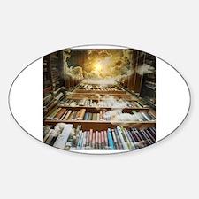Funny Bookshelves Sticker (Oval)