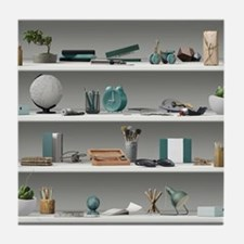 Office Shelves Wellness Teal Tile Coaster